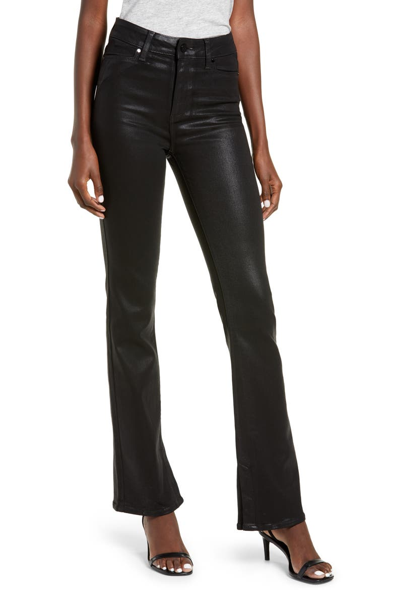 PAIGE Manhattan High Waist Coated Bootcut Jeans, Main, color, BLACK FOG LUXE COATING