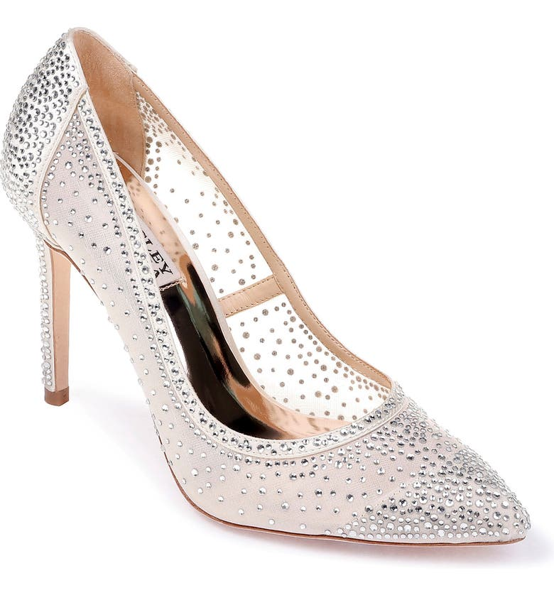 BADGLEY MISCHKA COLLECTION Weslee Pointed Toe Pump, Main, color, IVORY SATIN