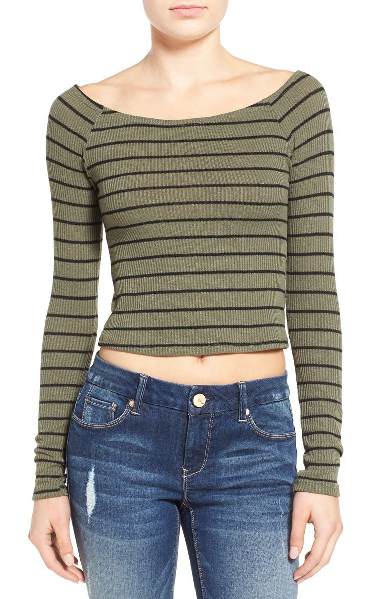 SOCIALITE Stripe Off the Shoulder Tee, Main, color, 300