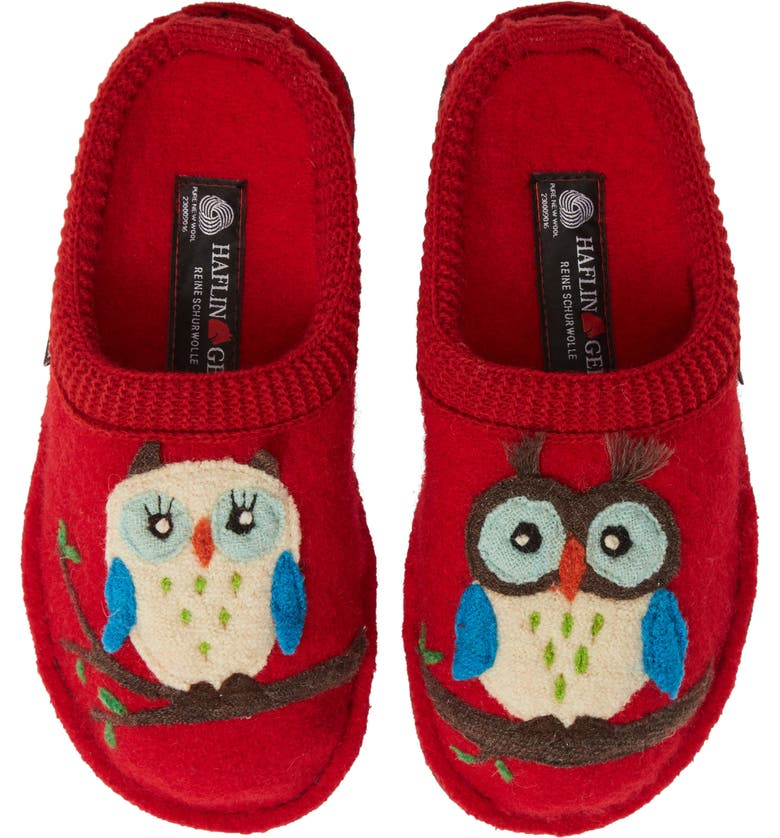 HAFLINGER Olivia Owl Slippers, Main, color, 600
