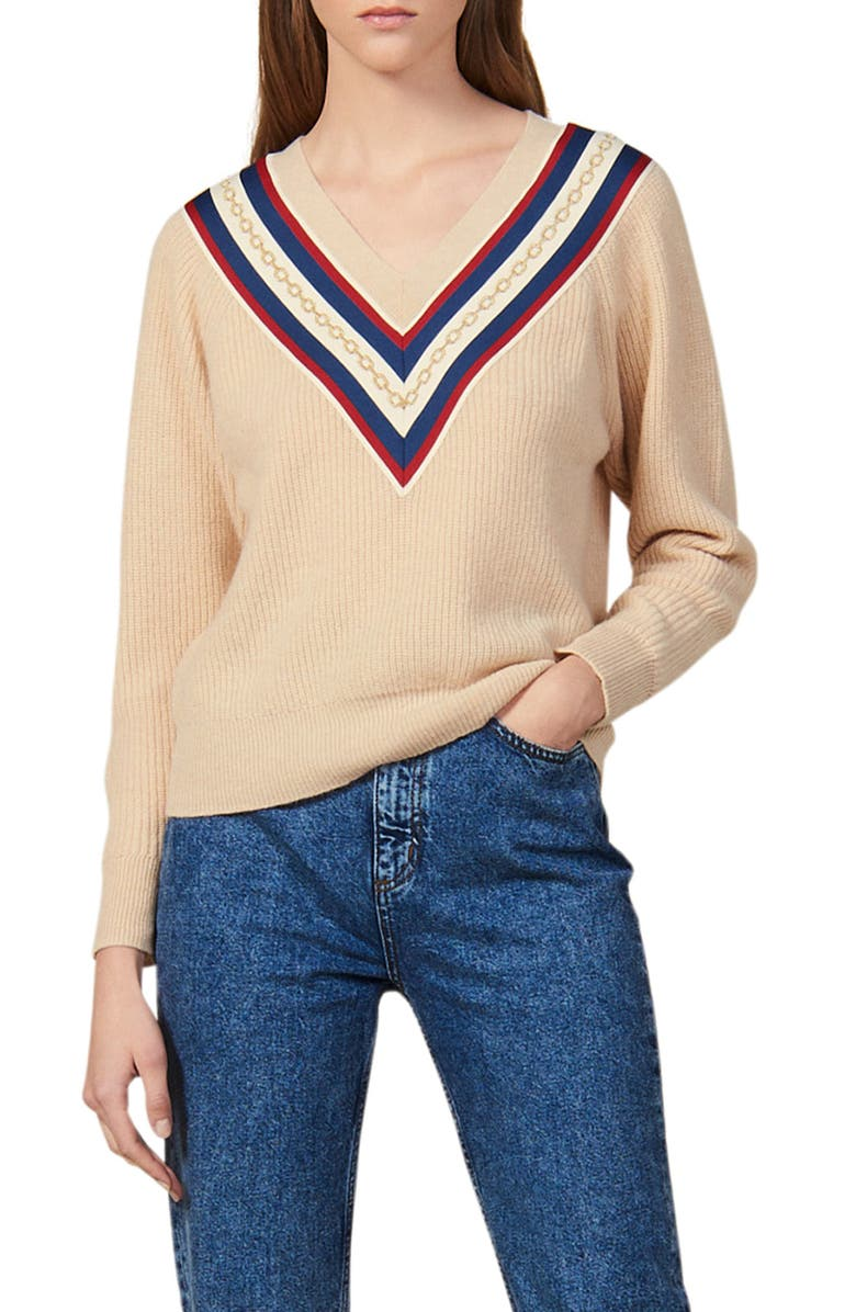 SANDRO Chains V-Neck Sweater, Main, color, 250