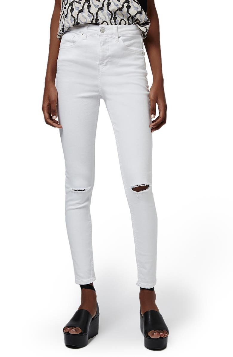TOPSHOP 'Jamie' Ripped High Rise Ankle Skinny Jeans, Main, color, 100
