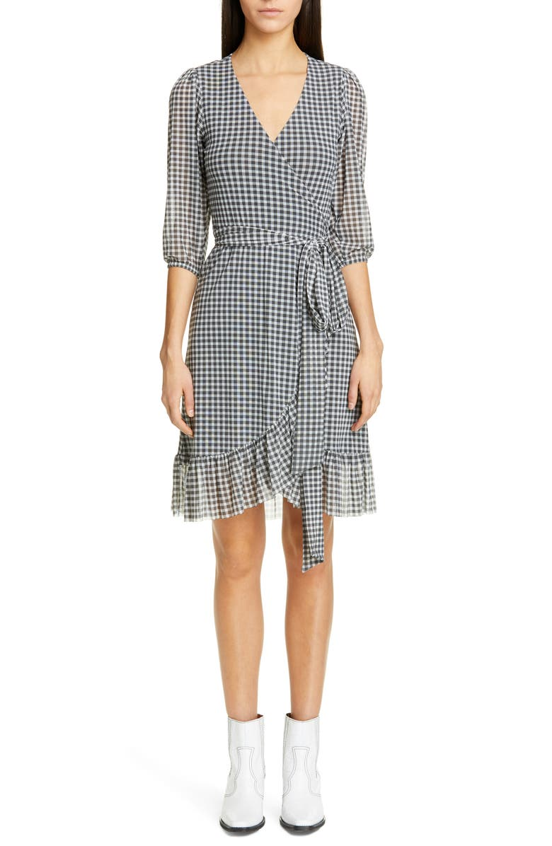 GANNI Check Print Mesh Wrap Dress, Main, color, 001