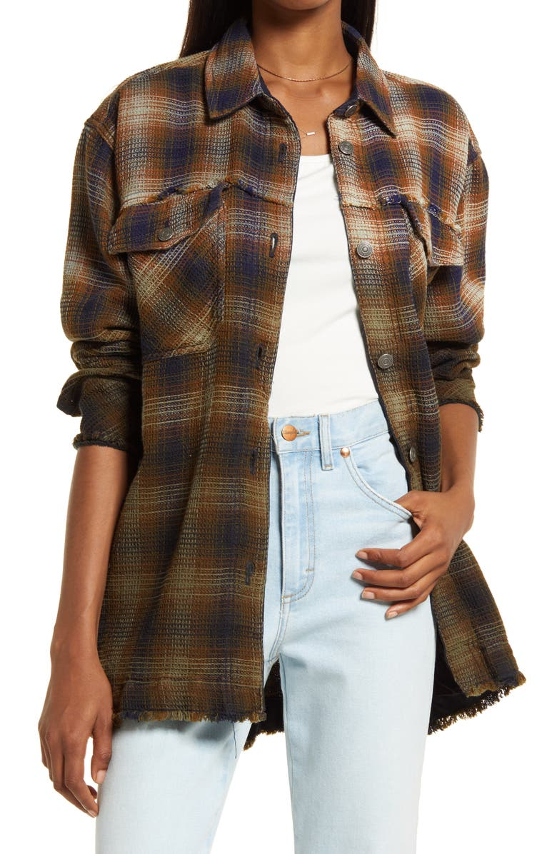 FREE PEOPLE Anneli Plaid Shirt Jacket, Main, color, NAVY TOBACCO COMBO