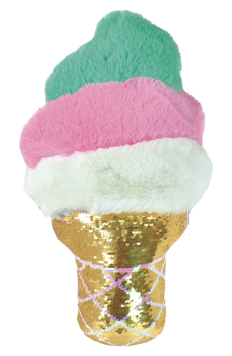 ISCREAM Ice Cream Cone Reversible Sequin Pillow, Main, color, 960