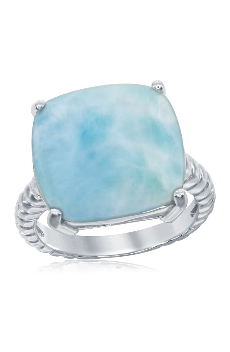 SIMONA Sterling Silver Prong Set Larimar Stone Ring, Main, color, BLUE