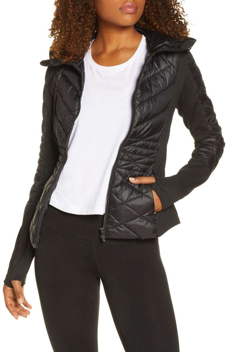ZELLA Quilted Performance Jacket, Main, color, 001