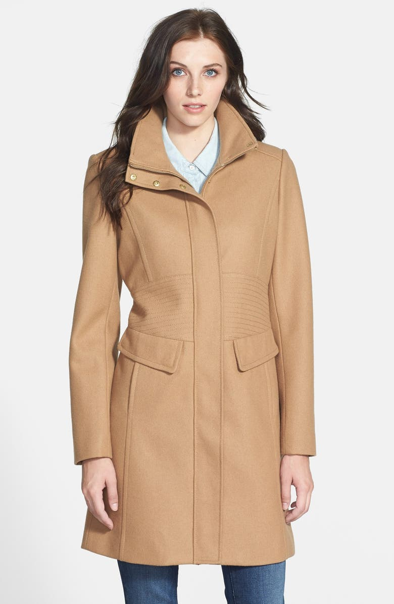 KENNETH COLE NEW YORK Inset Waist Stand Collar Walking Coat, Main, color, 100