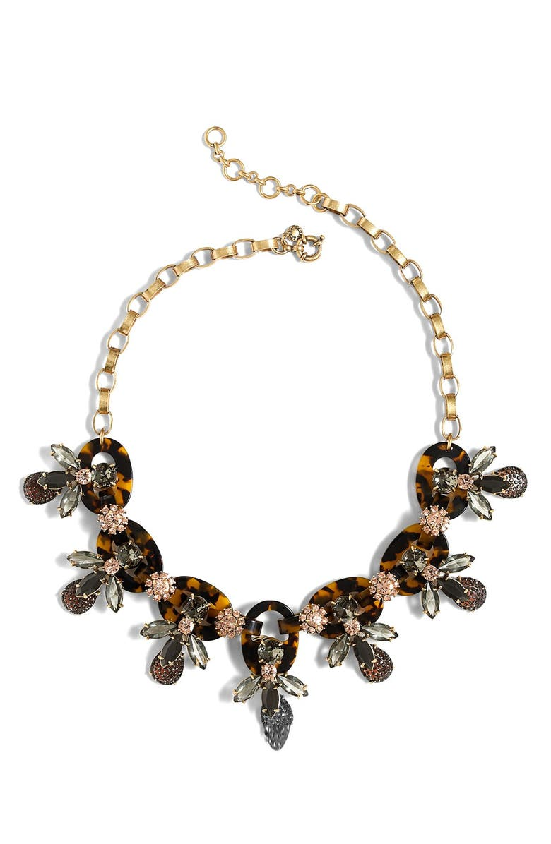 J.CREW Faux Tortoise & Firefly Necklace, Main, color, Black