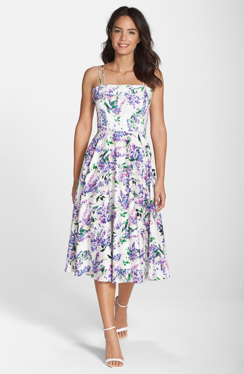 MAGGY LONDON Floral Print Fit & Flare Midi Dress, Main, color, 545