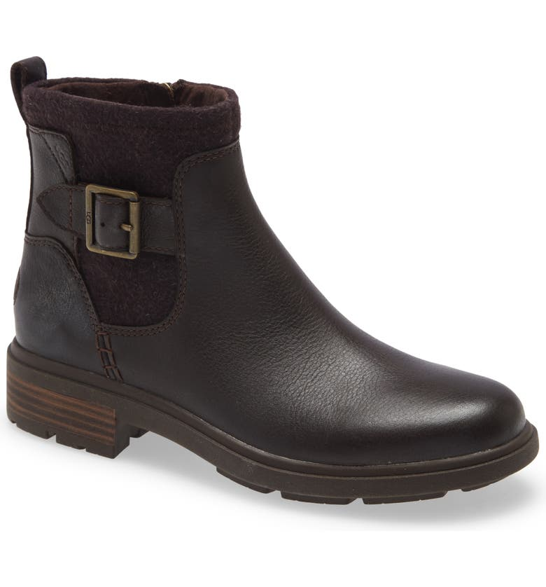 UGG<SUP>®</SUP> Harrison Waterproof Moto Boot, Main, color, STOUT LEATHER
