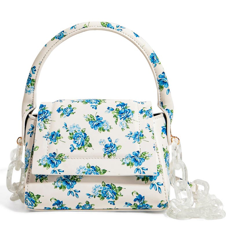 HOUSE OF WANT We Are Chic Vegan Leather Top Handle Crossbody, Main, color, BLUE FLORAL