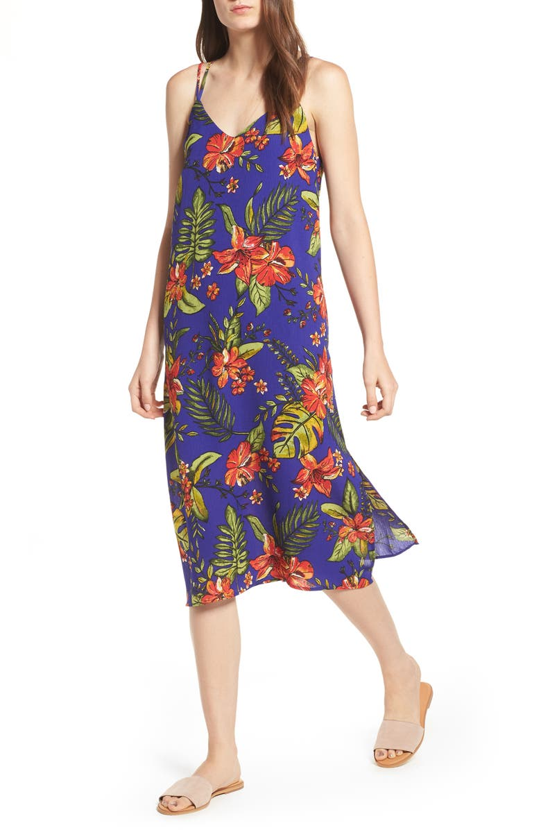 ALL IN FAVOR Strappy Floral Print Midi Dress, Main, color, COBALT BLUE/ RED