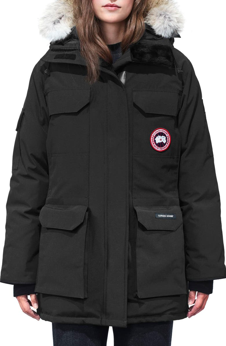 CANADA GOOSE Expedition Hooded Down Parka with Genuine Coyote Fur Trim, Main, color, Black