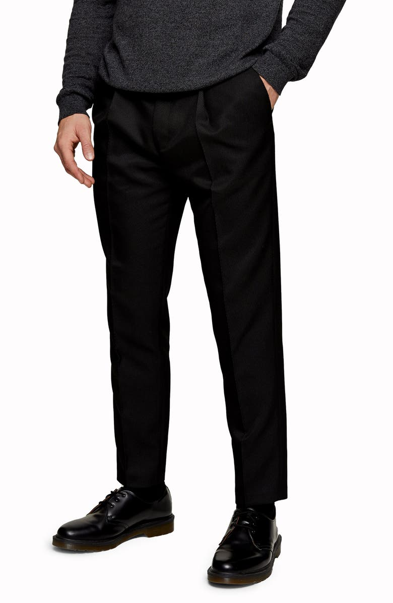 TOPMAN Tapered Fit Jeans, Main, color, BLACK