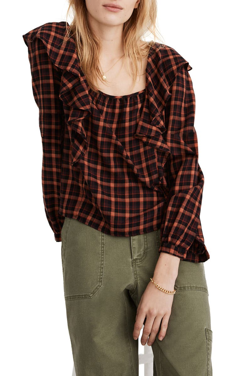 MADEWELL Plaid Ruffle Square Neck Crop Top, Main, color, STACKED CHECK ALMOST