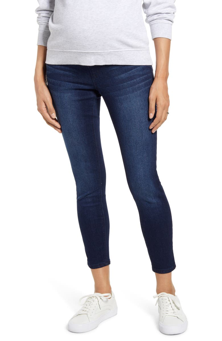 1822 DENIM Re:Denim Ripped Ankle Skinny Maternity Jeans, Main, color, MARCO