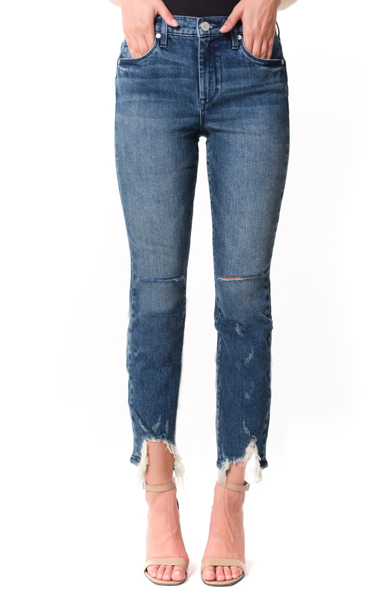 BLANKNYC The Madison Ripped Fray Hem High Waist Crop Straight Leg Jeans, Main, color, MY TYPE