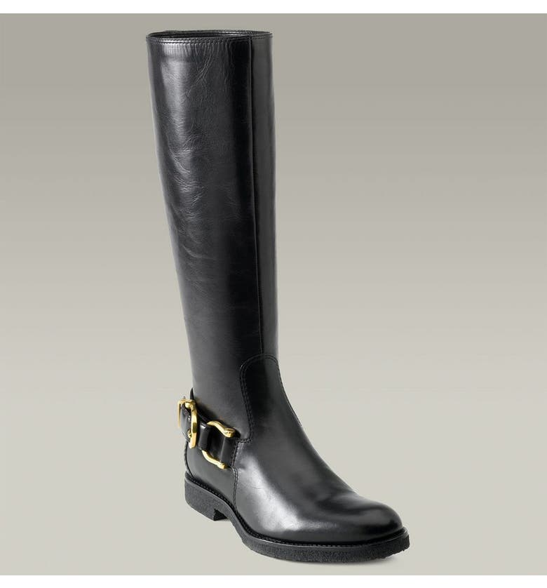 BURBERRY Trench Belt Riding Boot, Main, color, Black