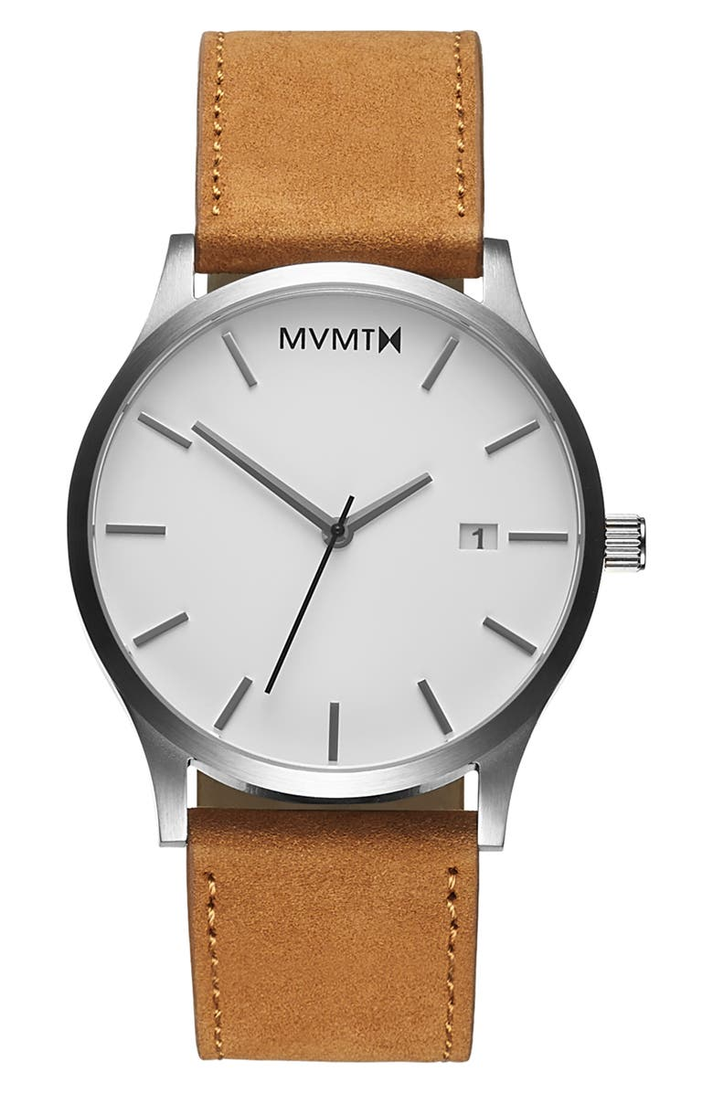 MVMT Classic Leather Strap Watch, 45mm, Main, color, BROWN/ WHITE/ SILVER