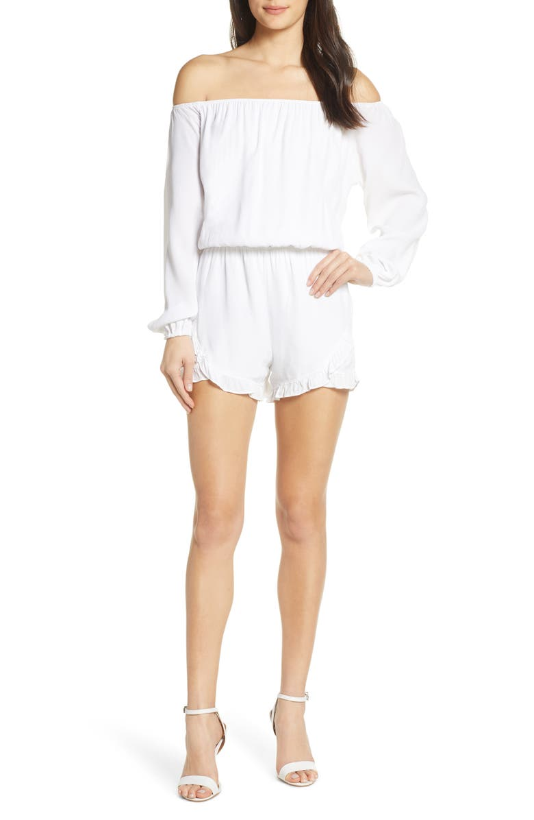FRAICHE BY J Off the Shoulder Romper, Main, color, 102