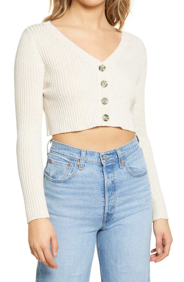 BP. Cropped Cardigan, Main, color, BEIGE OATMEAL LIGHT HEATHER