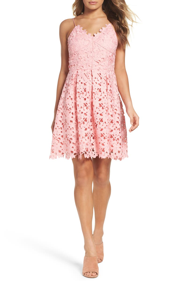ADELYN RAE Lace Fit & Flare Dress, Main, color, BLUSH