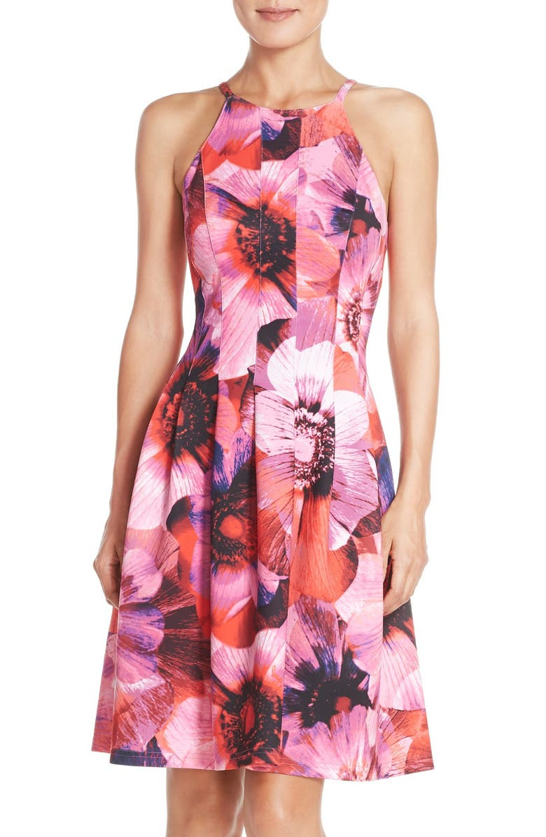 ADRIANNA PAPELL Floral Print Pleated Scuba Fit & Flare Dress, Main, color, 688
