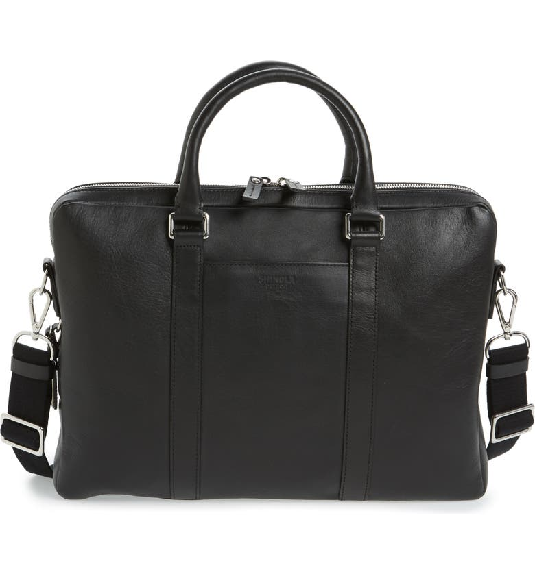 SHINOLA Signature Leather Computer Briefcase, Main, color, BLACK