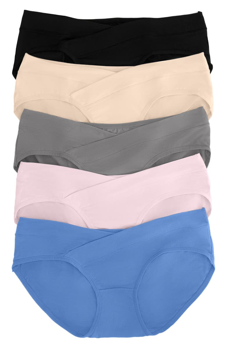 KINDRED BRAVELY Assorted 5-Pack Under the Bump Full Coverage Maternity Briefs, Main, color, ASSORTED