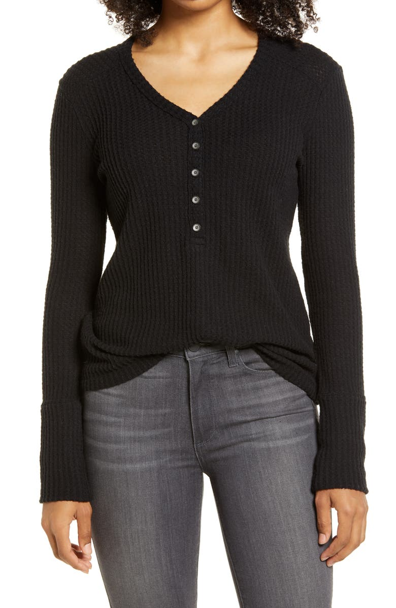 CASLON<SUP>®</SUP> High Cuff Henley Top, Main, color, 001