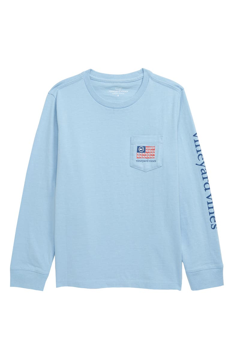 VINEYARD VINES Baseball Flag Long Sleeve Pocket Graphic Tee, Main, color, 400