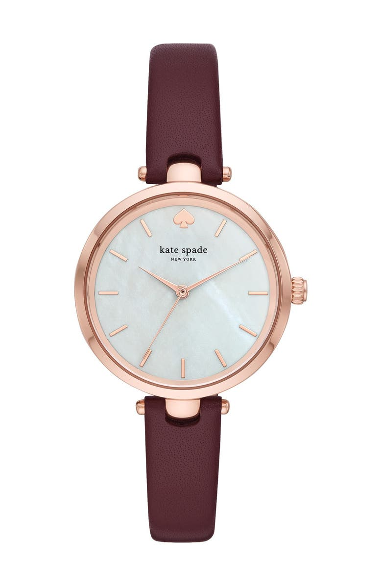 KATE SPADE NEW YORK women's holland 30mm watch & earrings boxed set, Main, color, WINE