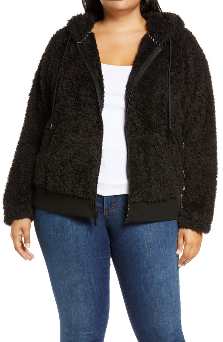 MARC NEW YORK PERFORMANCE Marc New York Ultrasoft Faux Fur Hoodie, Main, color, 001