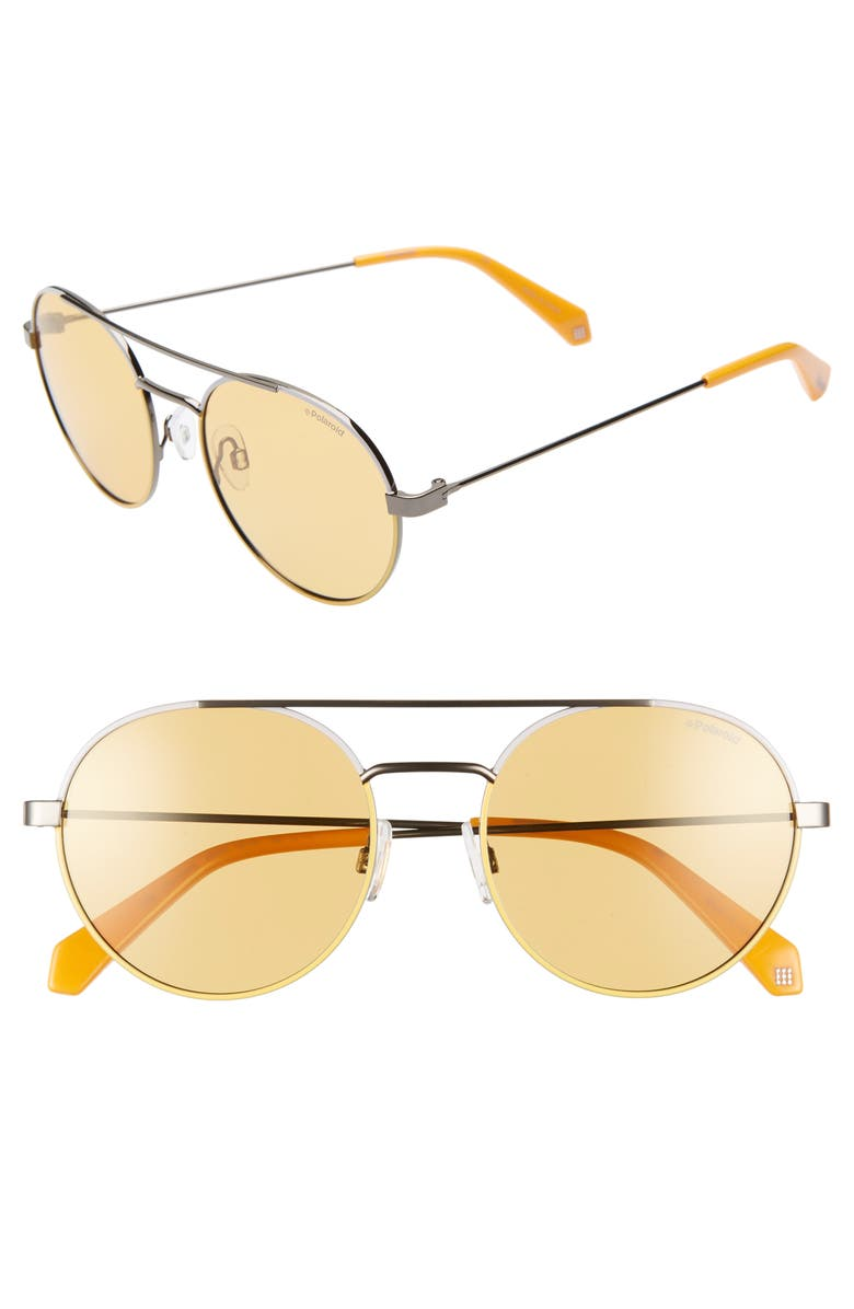 POLAROID 55mm Polarized Round Aviator Sunglasses, Main, color, YELLOW/ SILVER