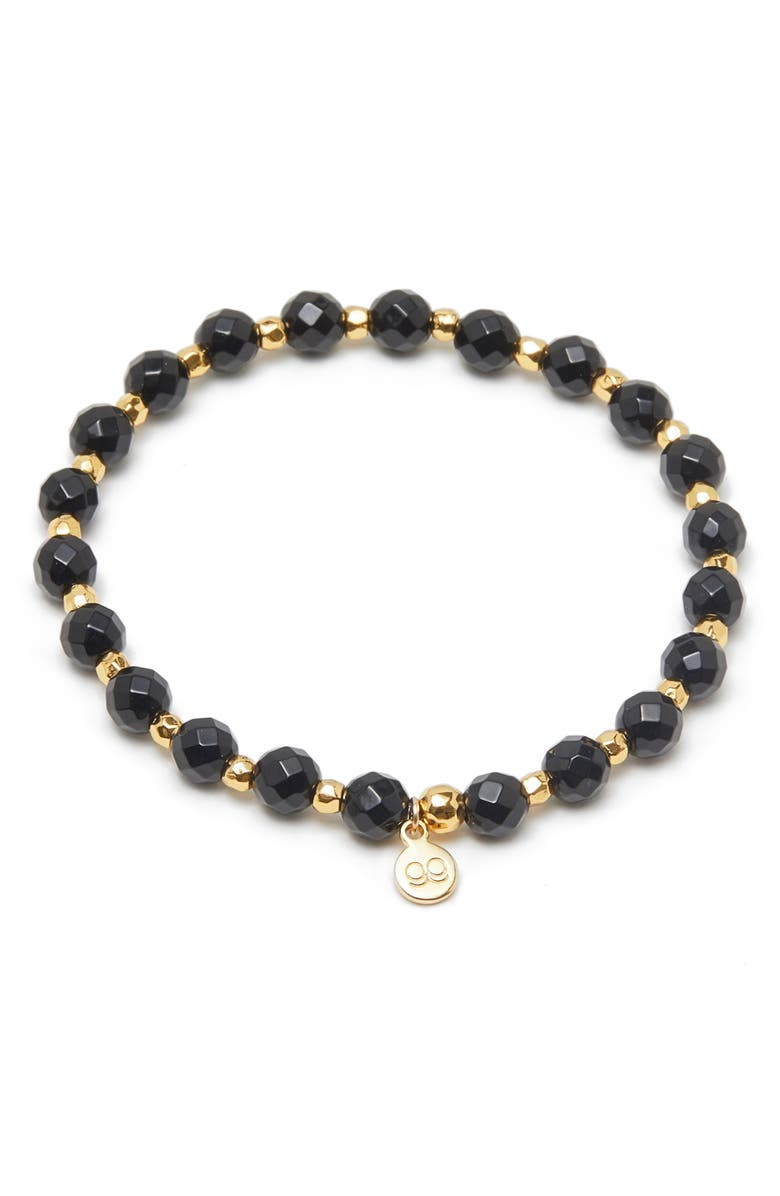 GORJANA Power Stone Stretch Bracelet, Main, color, PROTECTION/ BLACK ONYX/ GOLD
