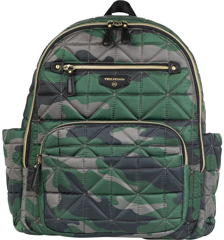TWELVELITTLE Companion Quilted Nylon Diaper Backpack, Main, color, CAMO PRINT