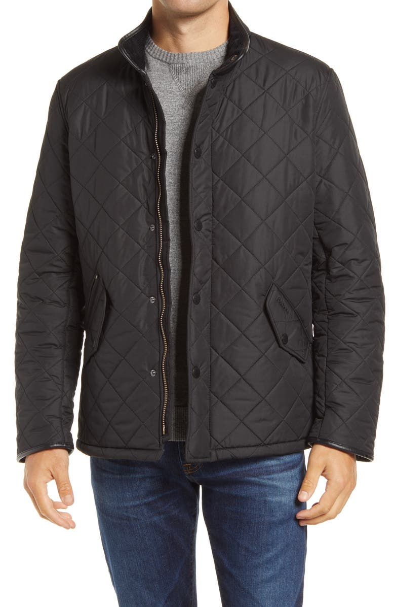 BARBOUR 'Powell' Regular Fit Quilted Jacket, Main, color, BLACK