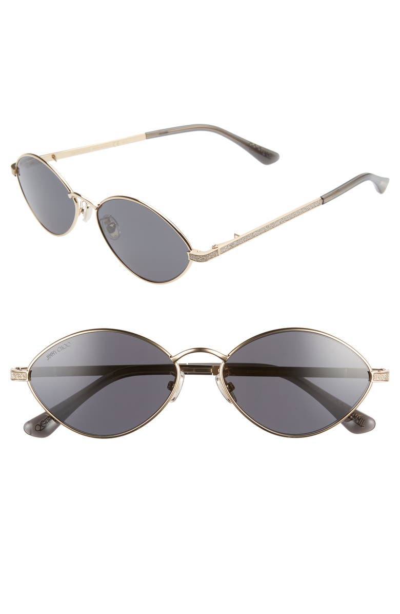 JIMMY CHOO Sonny 58mm Oval Sunglasses with Chain, Main, color, GOLD/ GREY BLUE
