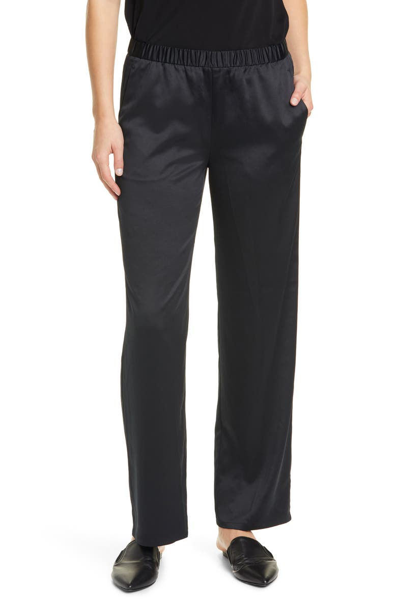 EILEEN FISHER Pull-On Straight Leg Recycled Polyester Pants, Main, color, 001