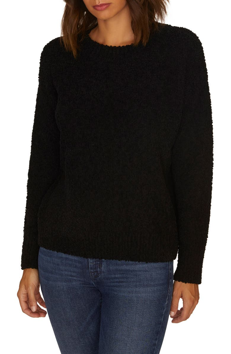 SANCTUARY Teddy Textured Knit Sweater, Main, color, 001