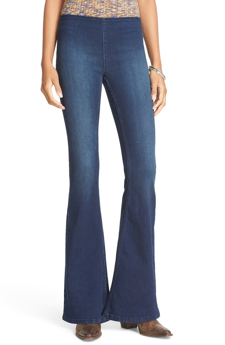 FREE PEOPLE Gummy Pull-On Flare Leg Jeans, Main, color, DENIM BLUE