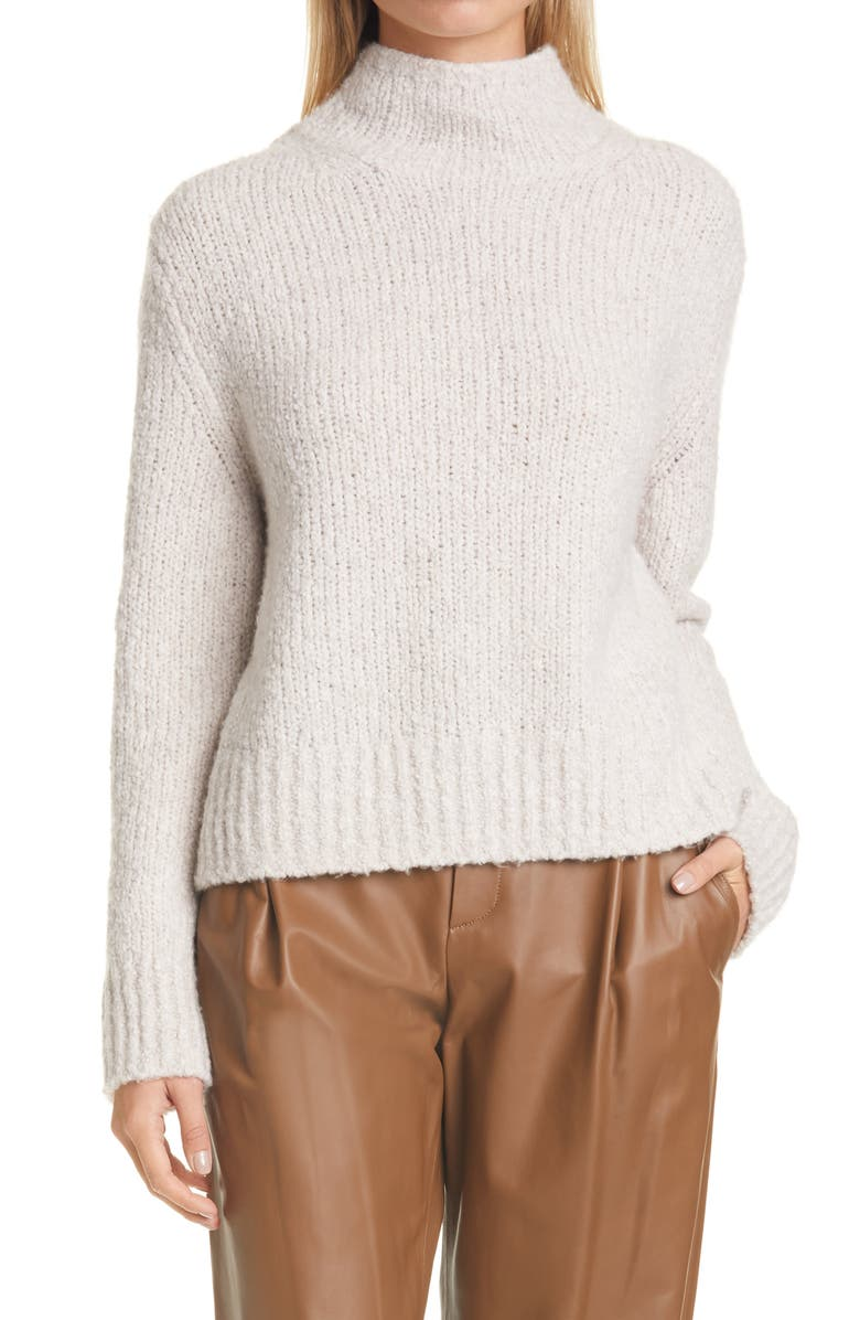 VINCE Textured Wool Blend Funnel Neck Sweater, Main, color, PEARL OAT