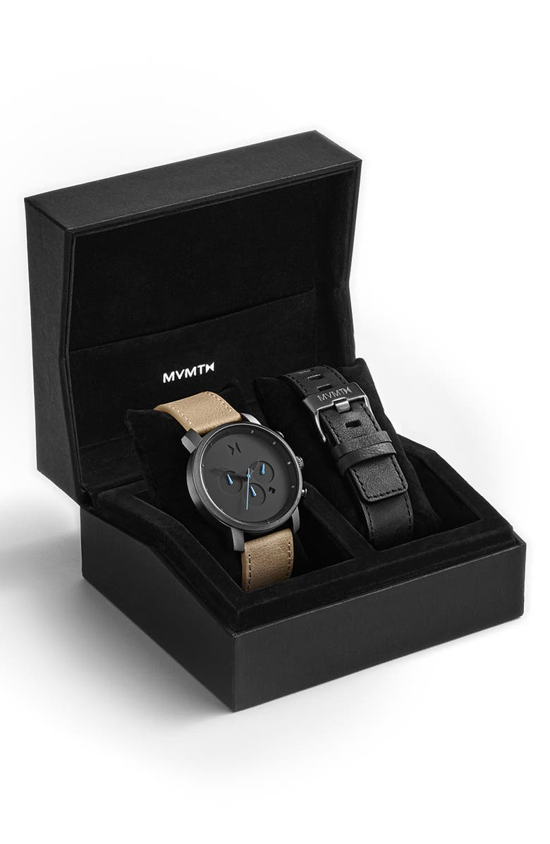 MVMT The Chrono Chronograph Leather Strap Watch Set, 45mm, Main, color, 001