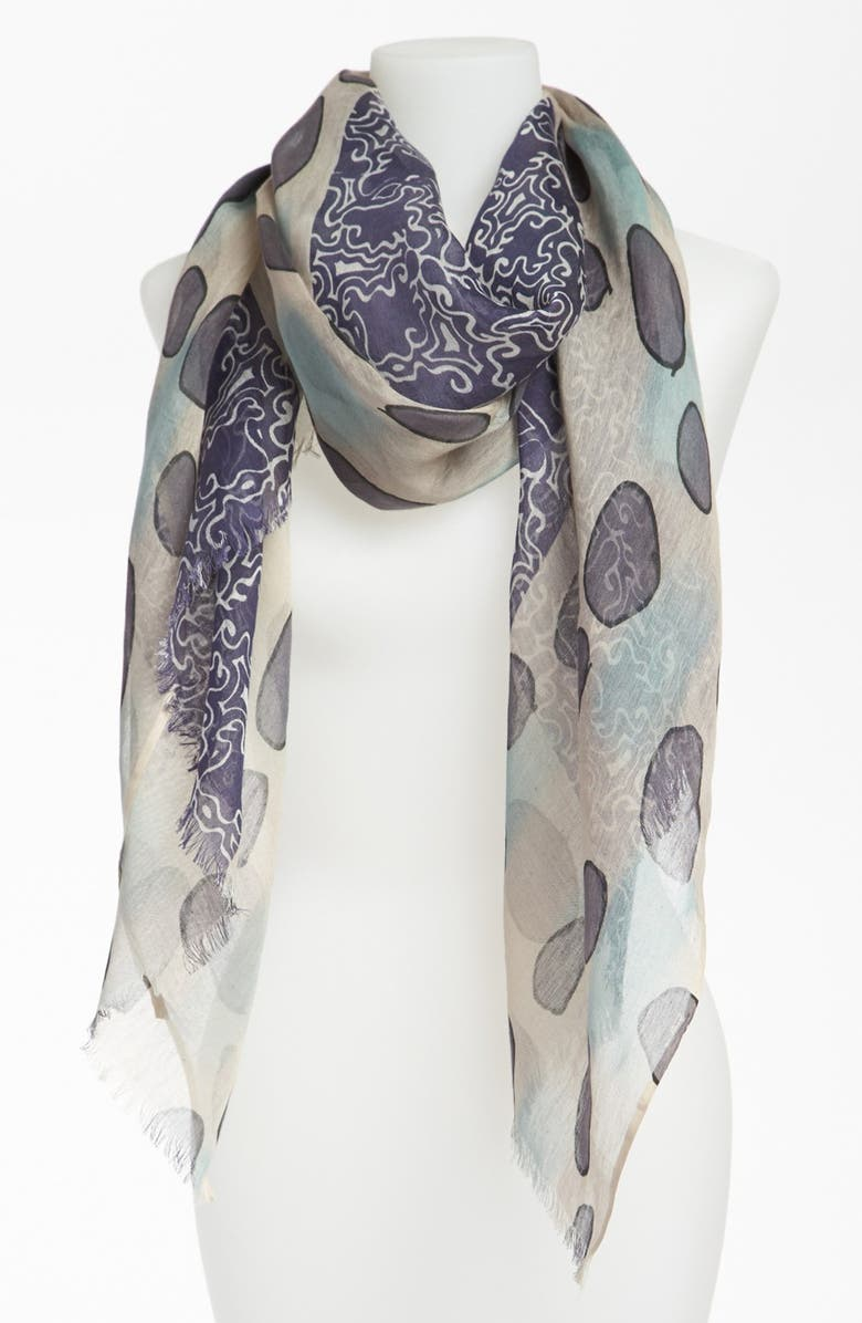 NORDSTROM 'Updated Tribal' Silk & Cotton Scarf, Main, color, AQUA