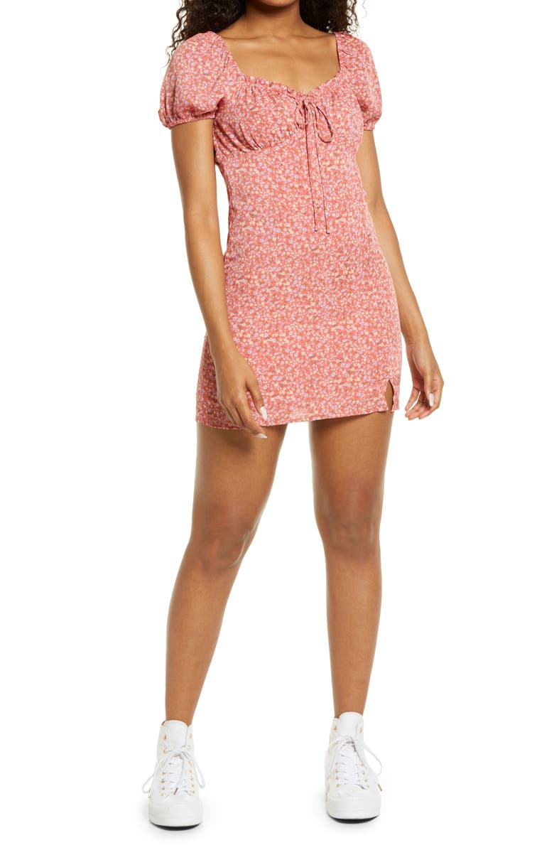 BP. Ditsy Floral Tie Front Minidress, Main, color, PINK MULTI FLORAL