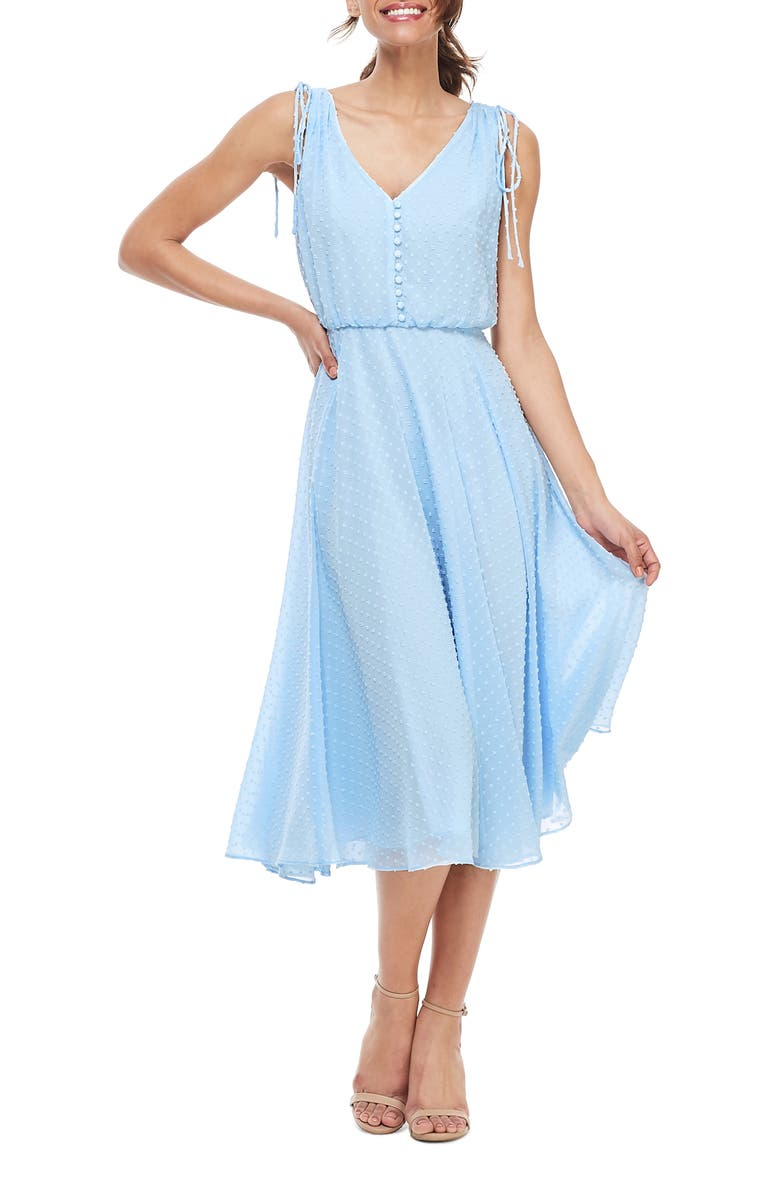 GAL MEETS GLAM COLLECTION Hilary Clip Dot Chiffon Midi Dress, Main, color, 400
