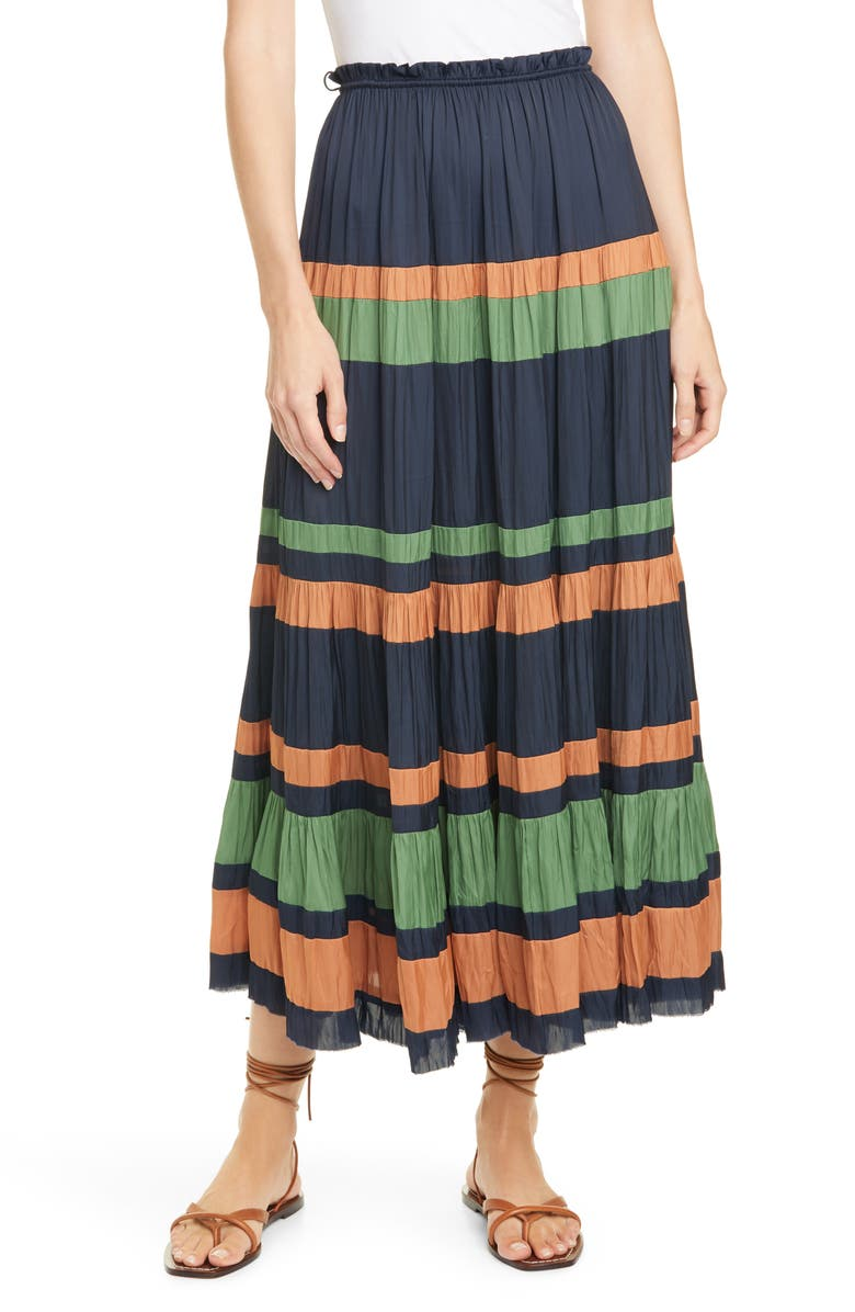 ULLA JOHNSON Avelina Stripe Skirt, Main, color, 400