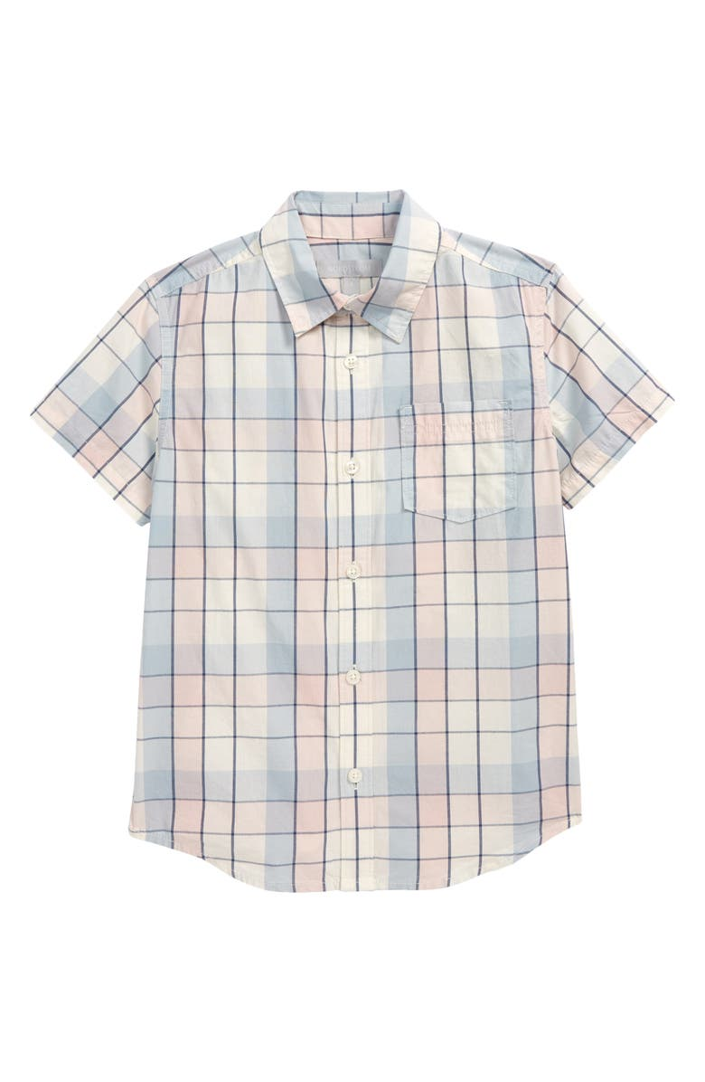 NORDSTROM Short Sleeve Poplin Shirt, Main, color, IVORY EGRET PREPPY PLAID