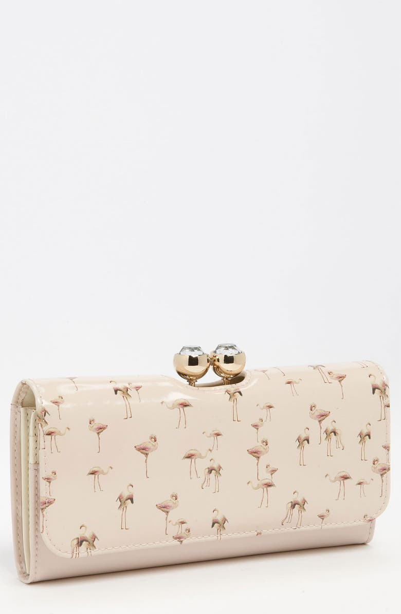 TED BAKER LONDON 'Flamingo Print' Matinee Wallet, Main, color, PALE PINK
